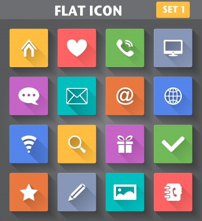 contact book: Vector application Web Icons set in flat style with long shadows  Illustration