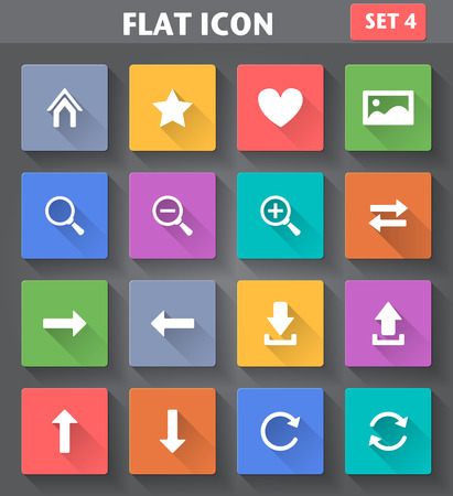Vector application Web Navigation Icons set in flat style with long shadows  Illusztráció