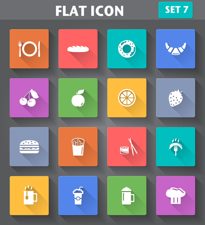 Vector application Food and Drink set in flat style with long shadows  Vector