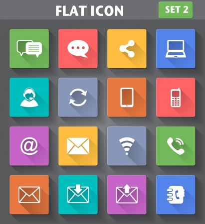 Vector application Communication Icons set in flat style with long shadows