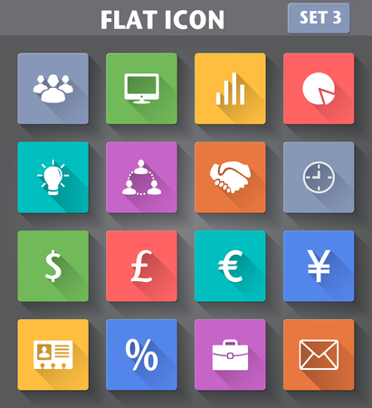 Vector application Business Icons set in flat style with long shadows  Stock Vector - 25124114