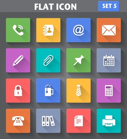 Vector application Office Icons set in flat style with long shadows  Vector
