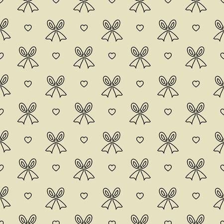 pattern pois: Seamless Polka dot pattern con fiocco nero e il cuore Vector Vettoriali