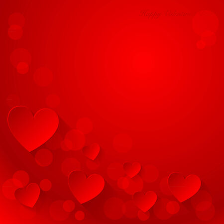 Valentine s day background with paper hearts  Vector