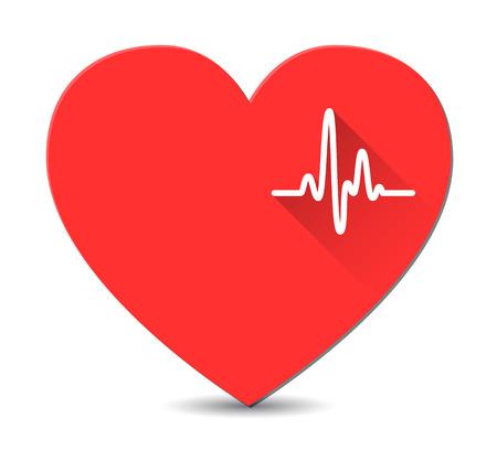 긴 그림자 벡터와 평면 스타일의 붉은 심장 심전도 일러스트