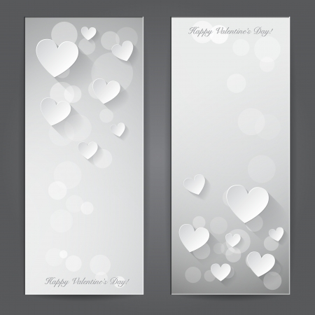 Valentine s day banner with paper hearts