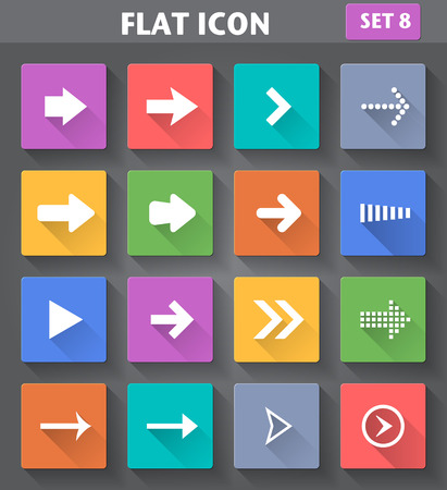 designator: Vector application Arrow Icons set in flat style with long shadows