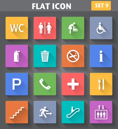 Vector application Public Icons set in flat style with long shadows