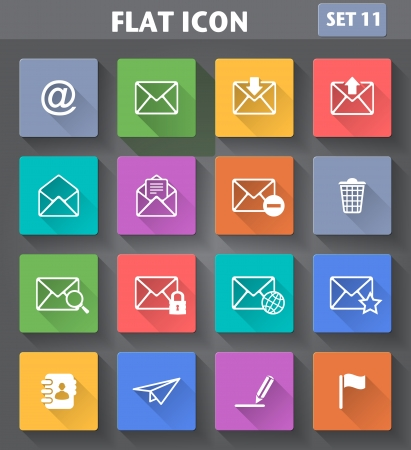 Vector application Envelope, E-mail Icons set in flat style with long shadows  Vector