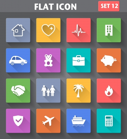 Vector application Insurance Icons set in flat style with long shadows