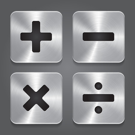 Vector Metal Icons Math Symbols
