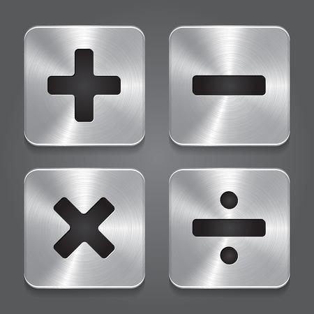 Vector Metal Icons Math Symbols  Vector