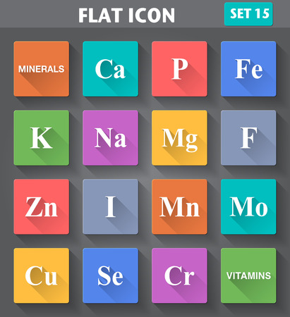 iodine: Vector application Minerals  Vitamins  Icons set in flat style with long shadows