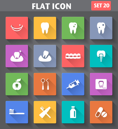 web design bridge: Vector application Dental Icons set in flat style with long shadows  Illustration