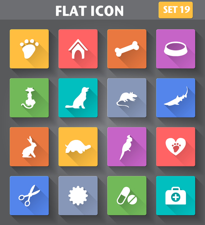thoroughbred: Vector application Veterinary Pet Icons set in flat style with long shadows