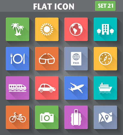 Vector application Travel and Vacation Icons set in flat style with long shadows