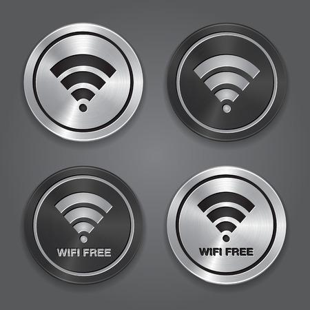 wireless transmission: Wireless Network Symbol  Metal app icon  Vector