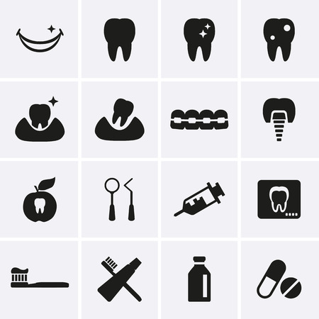 tooth decay: Dental Icons  Vector Illustration