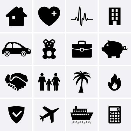 incendio casa: Iconos de seguros Vector