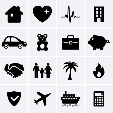 disaster: Insurance Icons  Vector