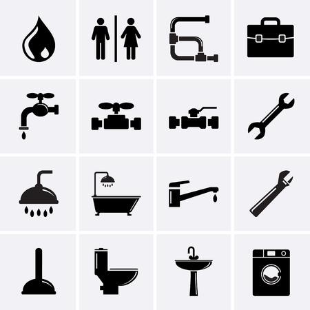 Plumbing Icons Vector