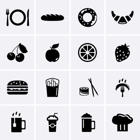 continental food: Food and Drink Icons Illustration