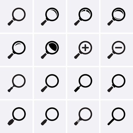 focus: Magnifier Glass and Zoom Icons Illustration