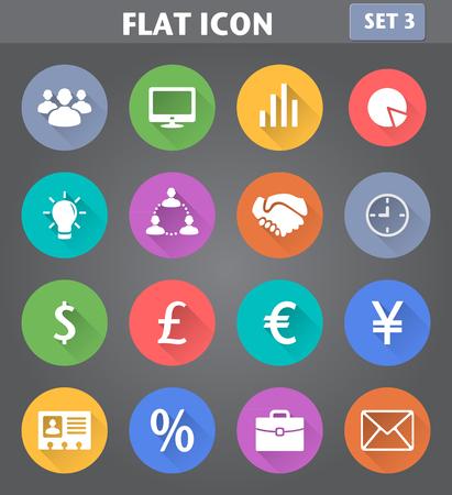벡터 비즈니스 응용 프로그램 아이콘은 긴 그림자와 함께 평면 스타일에서 설정합니다.