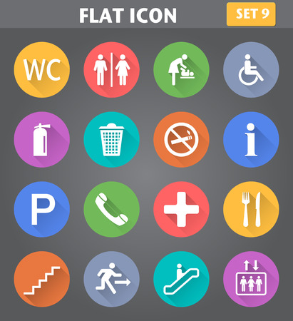Vector application Public Icons set in flat style with long shadows. Vettoriali
