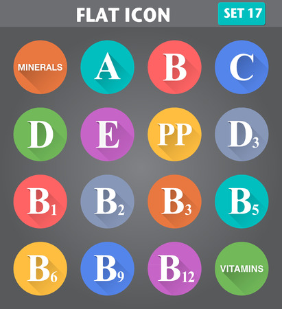 pp: Vector application Vitamins Icons set in flat style with long shadows. Illustration