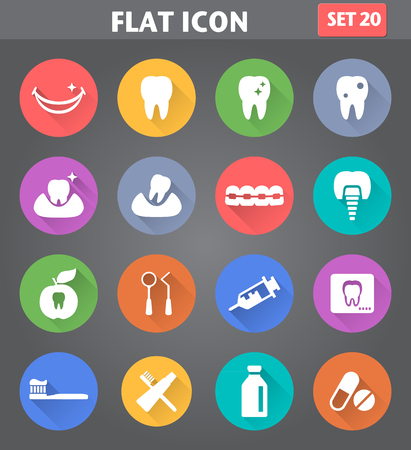 Vector application Dental Icons set in flat style with long shadows.