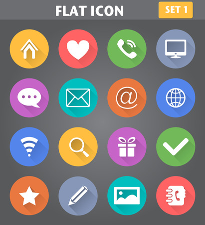 icon contact: Vector application Web Icons set in flat style with long shadows.
