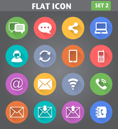 Vector application Communication Icons set in flat style with long shadows.