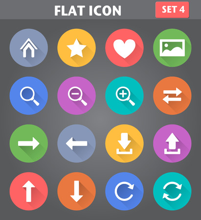 Vector application Web Navigation Icons set in flat style with long shadows. Illusztráció