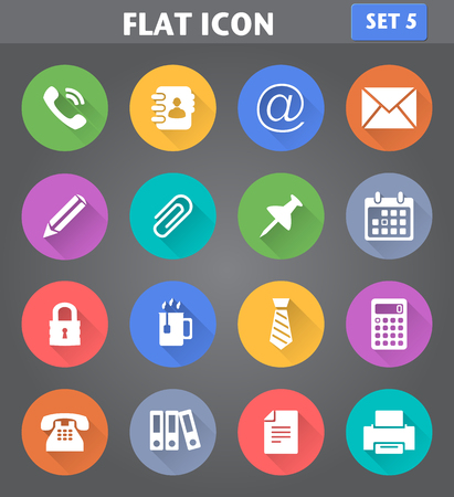 Vector application Office Icons set in flat style with long shadows.