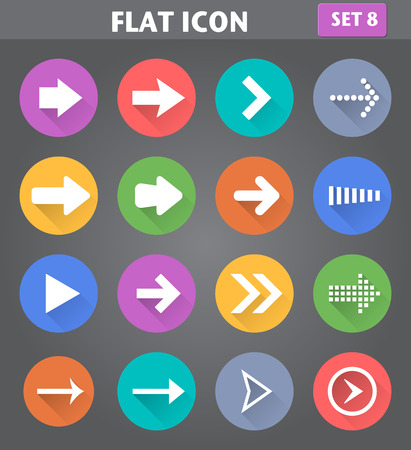 arrowheads: Vector application Arrow Icons set in flat style with long shadows. Illustration