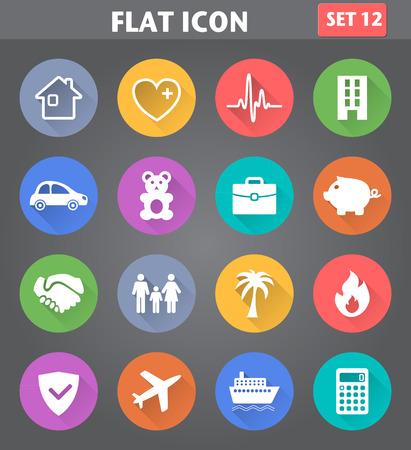 Vector Anwendung Insurance Icons in flachen Stil mit langen Schatten gesetzt. Illustration
