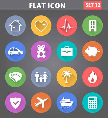 Vector application Insurance Icons set in flat style with long shadows. Vector
