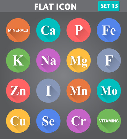 potassium: Vector application Minerals (Vitamins) Icons set in flat style with long shadows.
