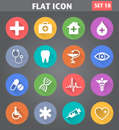 Vector application Medical Icons set in flat style with long shadows.