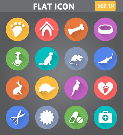 Vector application Veterinary Pet Icons set in flat style with long shadows.