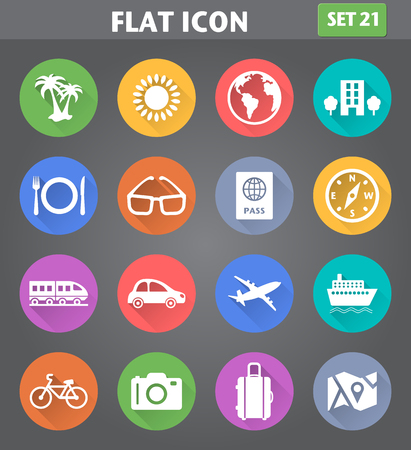 Vector application Travel and Vacation Icons set in flat style with long shadows. Vector