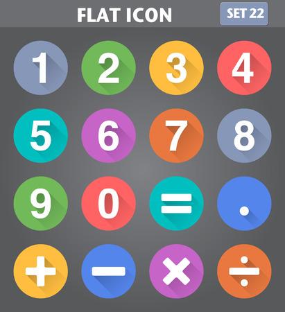 Vector Anwendung Zahlen und mathematische Symbole in flachen Stil mit langen Schatten gesetzt.