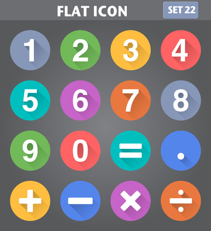 Vector application Numbers and Mathematical Icons set in flat style with long shadows. Stock Illustratie