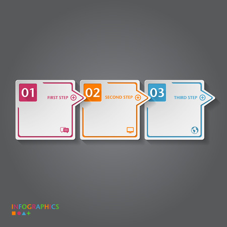 2 3: Number Banners Template  Graphic or website layout