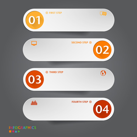Number Banners Template. Graphic or website layout. Vector  イラスト・ベクター素材