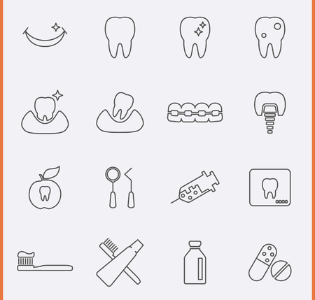 web design bridge: Dental Icons Illustration