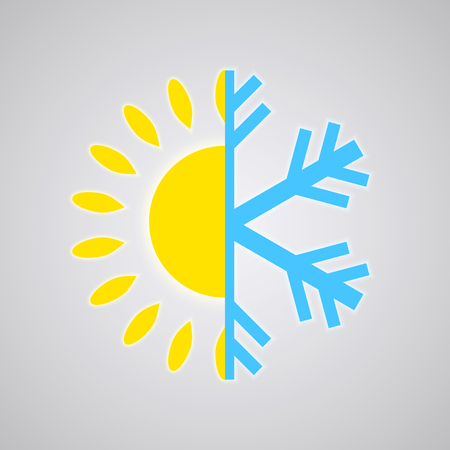 cold climate: Hot and Cold Temperature Icon  Vector