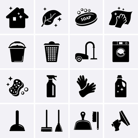 Cleaning icons  Vector 스톡 콘텐츠