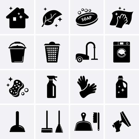 servicio domestico: Iconos Limpieza Vector Foto de archivo